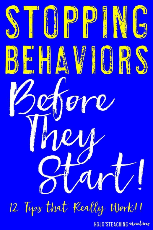 Do you have students that are acting up in class? The best way to handle behaviors is to stop them before they even start! Use these 12 tips to stop behaviors before they start and get your classroom management back under control! {Great tips for new AND veteran teachers to keep in mind!}
