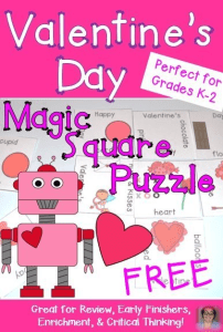 This FREE Valentine's Day Magic Square Puzzle is great for the Kindergarten, 1st, or 2nd grade students in your classroom. Click through to pick it up and see the other great Valentine's Day FREEBIES discussed at the blog post!