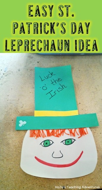 If you're looking for an easy St. Patrick's Day art project, check out this leprechaun! You can simply get out some construction paper and whatever random art supplies you have around! Students at all elementary grade levels will love this easy St. Patrick's day art idea!