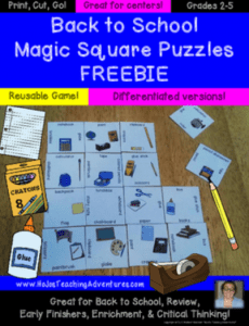 Your 2nd, 3rd, 4th, and 5th grade students will love this great back to school FREE download. Use it during the first day of school as a filler activity, during open house as a fun and academic game, or use it anytime during the 1st week of school to engage students in various school vocabulary. Your upper elementary students are going to love this freebie! {second, thirs, fourth, fifth graders}