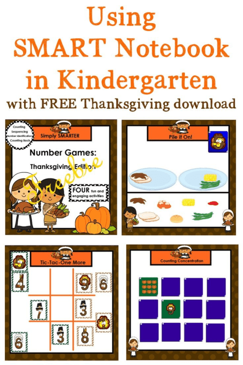 If you're on the lookout for SMART Notebook in Kindergarten, you're going to LOVE this FREE Thanksgiving resource! Use it with your Kinder math centers, games, and activities for the entire month of November. Click through to download your freebie now!