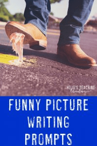 Funny Picture Writing Prompts can be a LOT of fun in your 2nd, 3rd, 4th, 5th, and 6th grade classroom or homeschool! Click through to see where to find a HUGE collection of funny picture prompts that you can use with your students at ANY time. Or download the resource with all the images you need ready to go. You'll also find grading tips and more! {FREE preview filed contains three images you can test out - second, third, fourth, fifth, sixth graders, home school} #HoJoTeaches #WritingPrompts