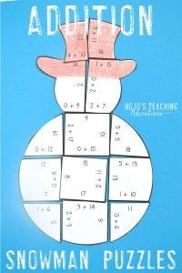 Addition Snowman Puzzles