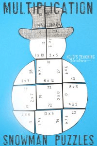 Multiplication Snowman Puzzles
