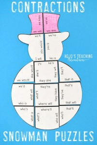 Contractions Snowman Winter Puzzle Games