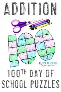 Addition 100th Day of School Activities for Adding in Math