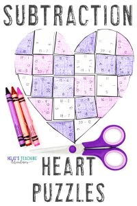 Subtraction Heart Puzzles for Valentine's Day Activities