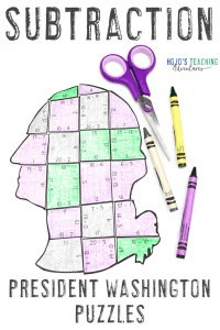 Click here to purchase your own President Washington Subtraction Puzzles!