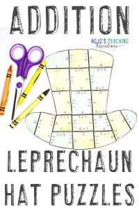 Click here to buy leprechaun hat St. Patrick's Day addition puzzles!