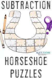 Horseshoe Subtraction Math Puzzles