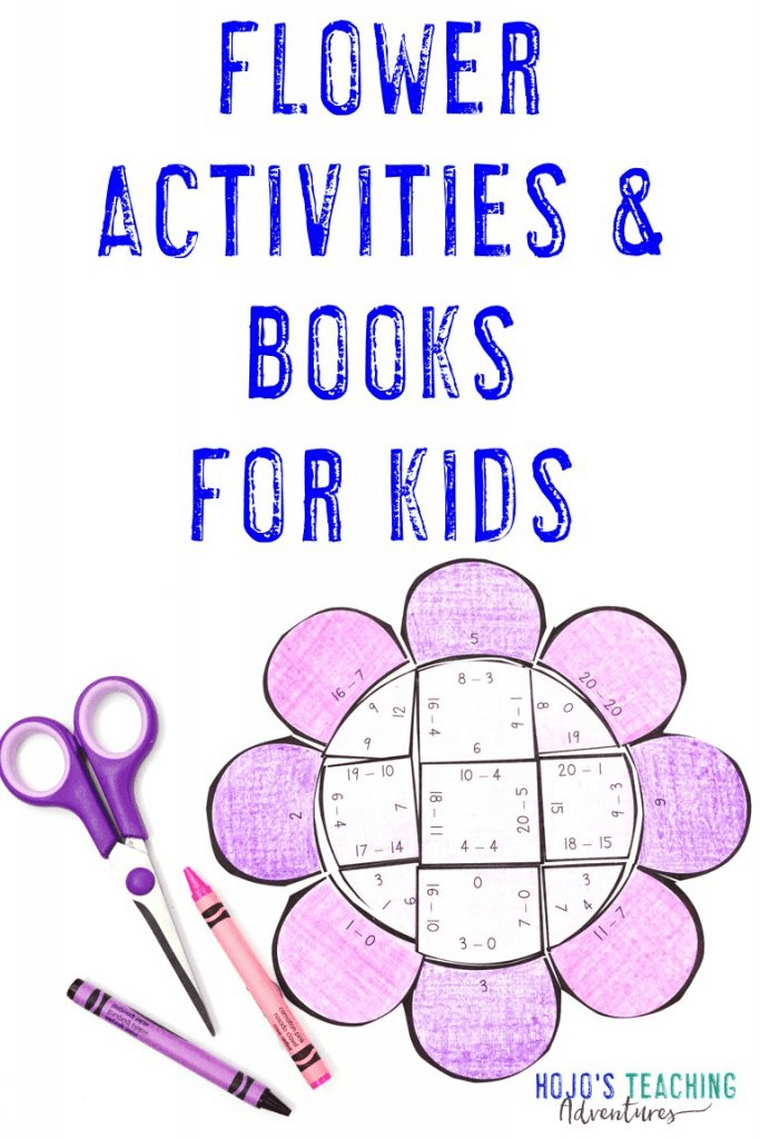 Flower Activities & Books for Kids - with subtraction math puzzle shown