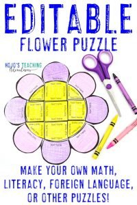Click here to buy an EDITABLE flower puzzle for ANY topic!