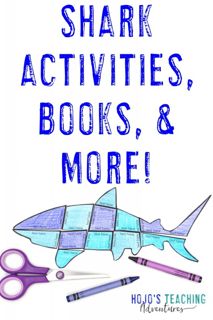 Shark Activities, Books, & More - with picture of an editable shark puzzle