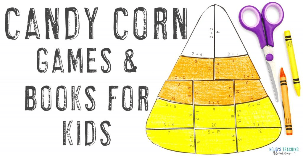 """Candy Corn Games & Books for Kids"" with a multiplication math candy corn puzzle"