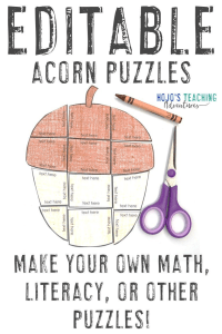 Click to buy your own EDITABLE acorn puzzles!