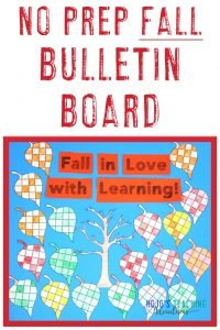 """Fall in Love with Learning!"" Fall Bulletin Board made with leaf puzzles"