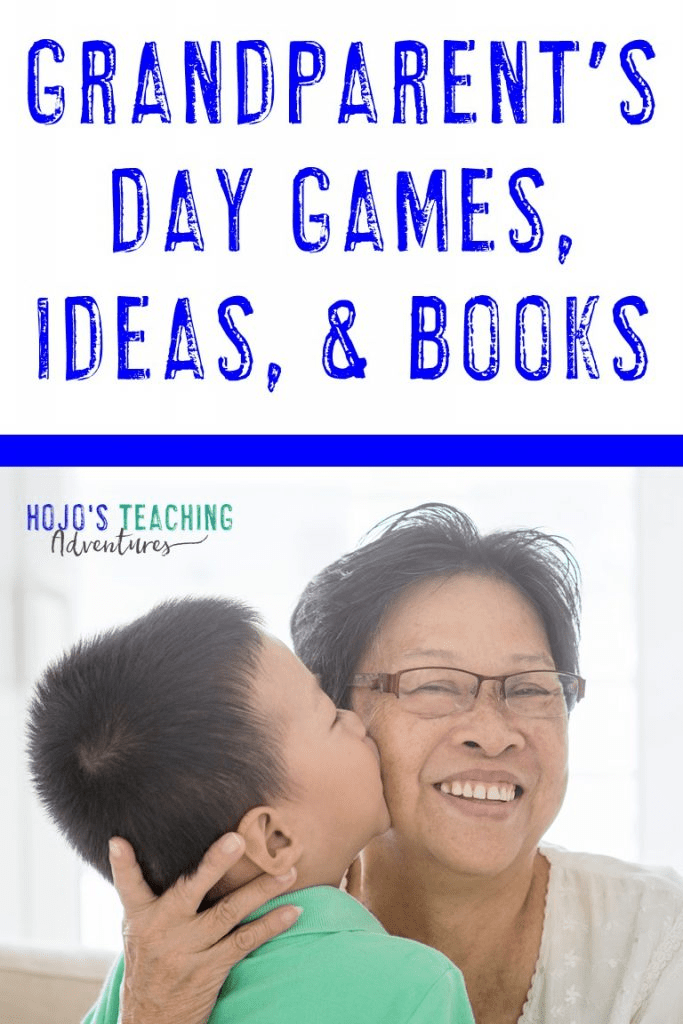 Grandparent's Day Games, Ideas, & Books with a boy kissing his grandmother on the cheek