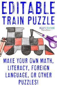 Click to get your own EDITABLE Train Activity Puzzle!
