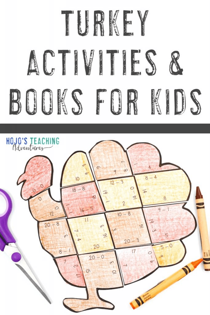 Turkey Activities for Kids with a subtraction puzzle shown
