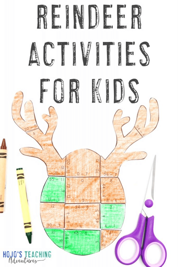 Reindeer Activities for Kids with a subtraction reindeer puzzle