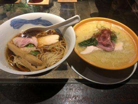 JAPANESE RAMEN NOODLE LAB Q(ジャパニーズラーメンヌードルラボQ)の醤油ラーメンと塩ラーメン