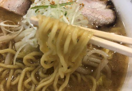 狼スープの味噌ラーメン麺を箸で持った