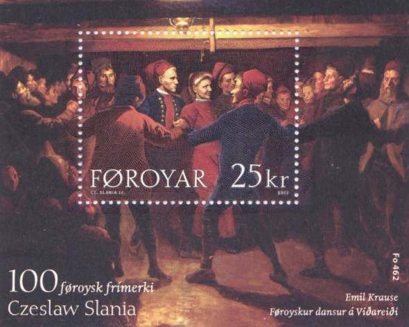 Faroe_stamp_462_the_100th_faroese_stamp_by_slania_-_stamp_sheet