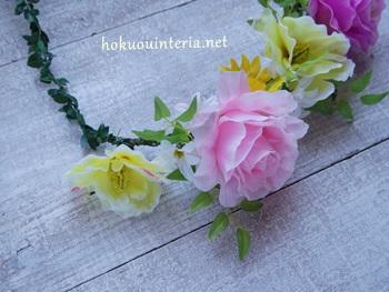 手作りハイビスカスとバラの花かんむり