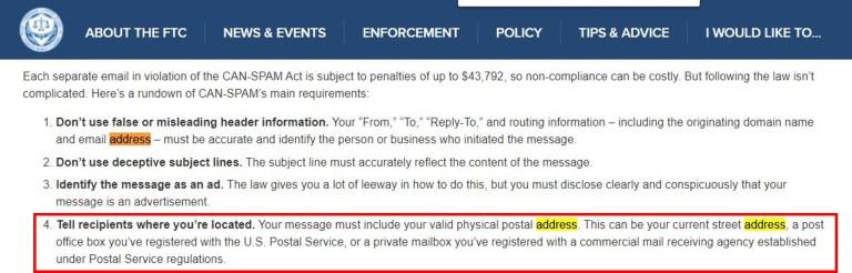 垃圾郵件 地址規範