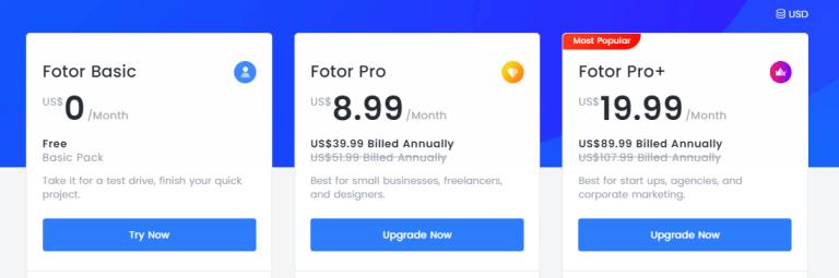 Fotor 線上照片編輯 平台價格