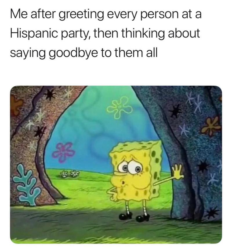 Me after greeting every person at a Hispanic party