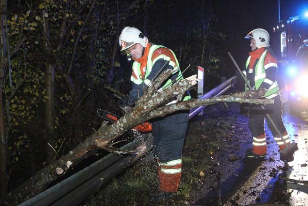 Brandfolkene skar træet i stykker, så Munkholmvej igen blev farbar. Foto: Morten Sundgaard - Skadestedsfotograf.dk.