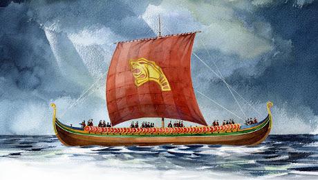 Tegning af det imponerende skib Harald Hårfager. Illustration: Steinar Iversen/Viking Kings.