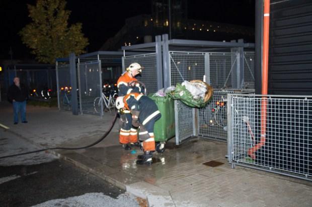 brand i skraldecontainer i Tølløse Foto: michael Johannessen.