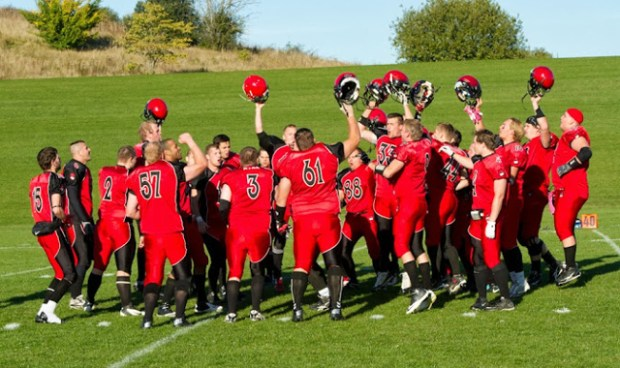 Holbæk Red Devils kunne fejre en flot 60-0 sejr over Køge Marines i semifinalen i Kvalifiktationsligaen. Foto: Michael Johannessen.