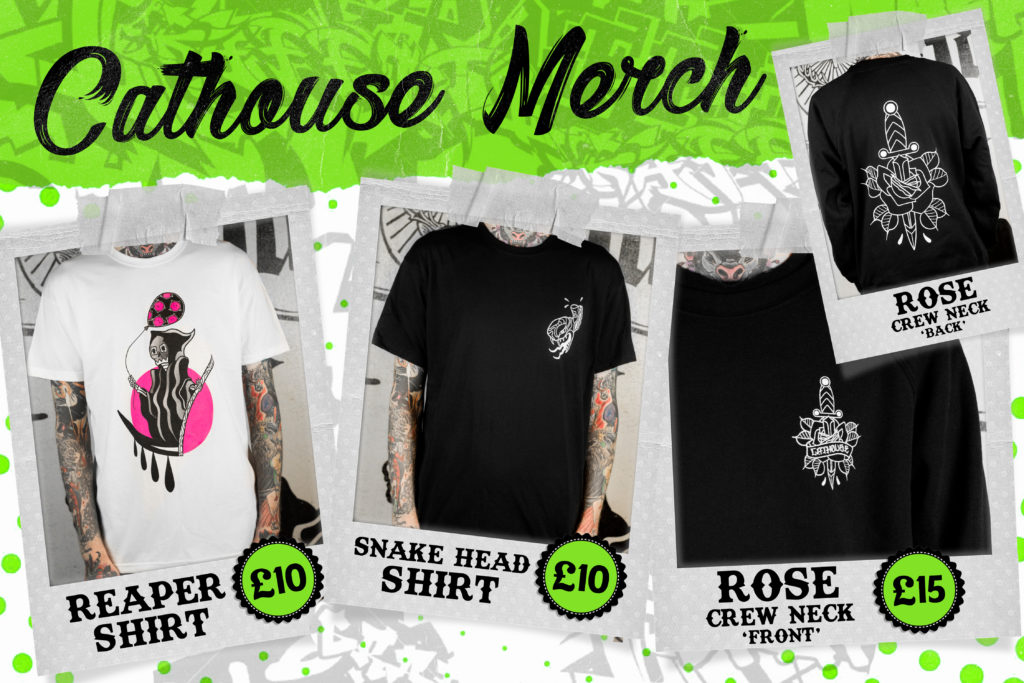 link to cathouse rock club merchandise websites sweatshirts and tshirts black and white with cathouse designs