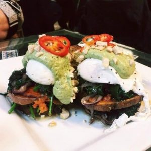best brunch spots in glasgow - poached eggs at singl-end