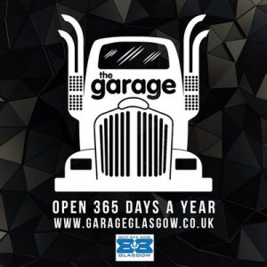 the garage logo black and white with image of a truck and best bar none award