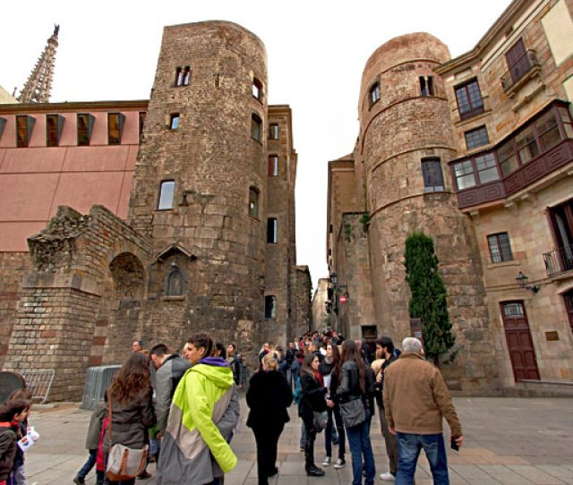 Largest Remaining Portion Of The Old Roman Wall Around Barcelonas Gothic Quarter With Two Original