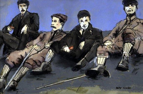 John Scott & pals, atop Ben Lomond, 1899 - by Peter Gordon
