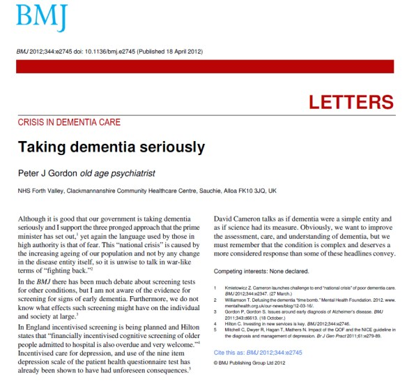Taking dementia seriously BMJ