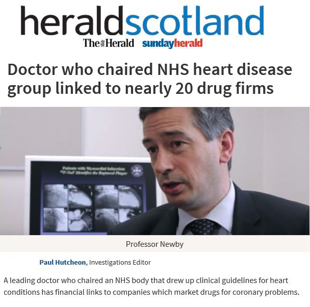Professor David Newby and Pharmaceuticul Industy and SIGN Guidelines