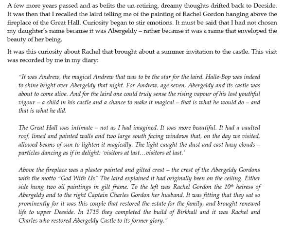 Rachel Gordon, Abergeldie castle