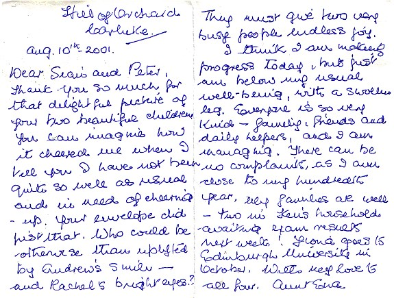 A letter from Aunt Ena Scott August 2001
