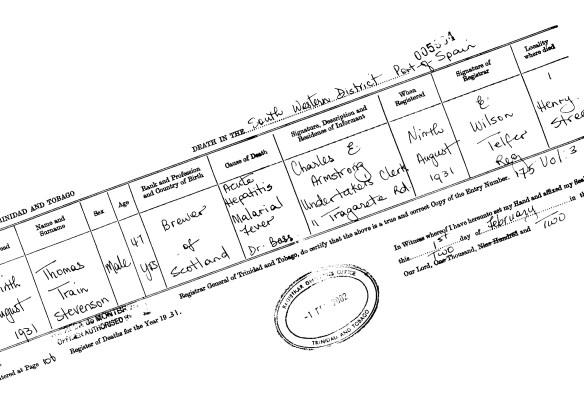 Thomas Train Stevenson, Falkirk died in Port of Spain