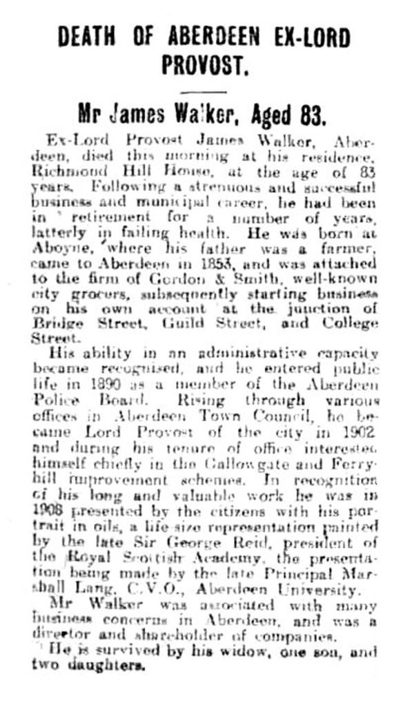 13 July 1921 Provost Walker