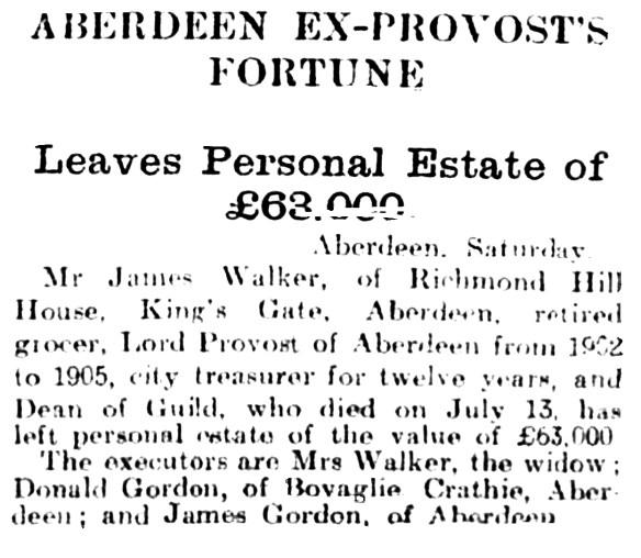 Bovaglie Provost fortune 1921