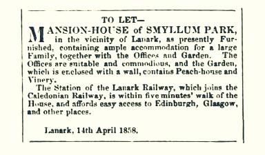 April 1858, To Let, Smyllum Park