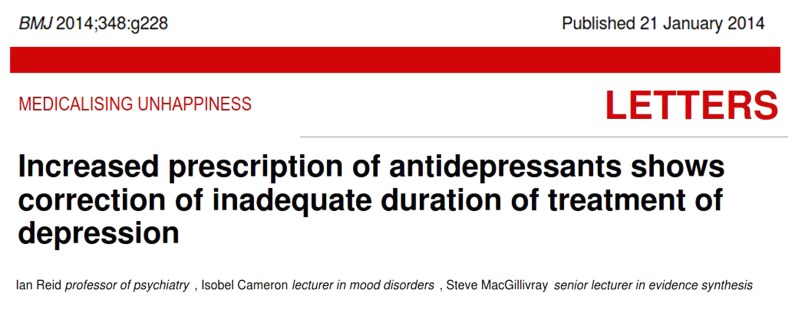 Increased antidepressant prescribing shows correction of inadequate duration of treatment, BMJ, Jan 2014