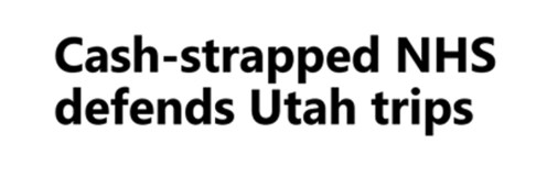Cash strapped NHS defends Utah trips - April 2018a